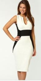 Annabelle Contrast Panel Midi Bodycon Dress - $50