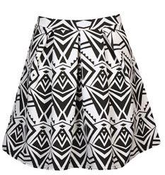 Charlize Monochrome Box Pleat Skater Skirt - $40
