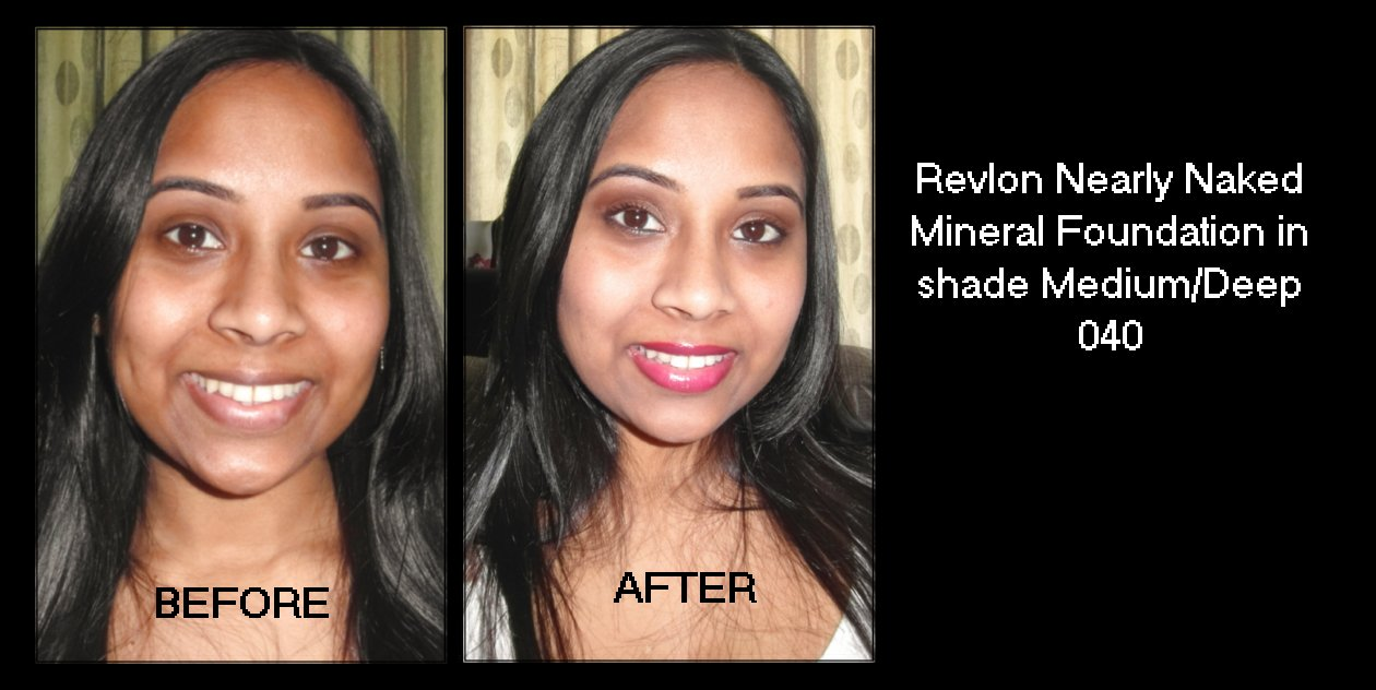 Mineral foundation before and after